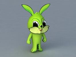 Green Cartoon Rabbit 3d model preview