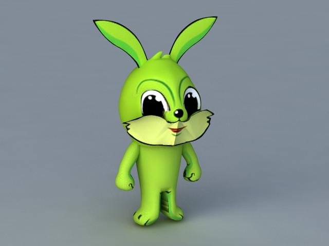Green Cartoon Rabbit 3d rendering