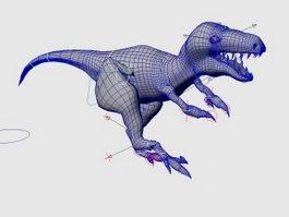 Raptor Dinosaur Rig Animation 3d model preview
