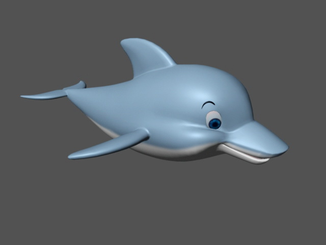 Cute Blue Dolphin 3d rendering