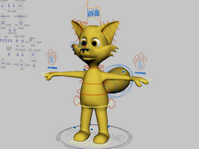 Cute Cartoon Fox Rigging 3d rendering