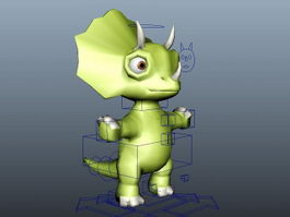 Cute Triceratops Cartoon Rig 3d preview