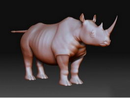 Rhinoceros Statue 3d model preview