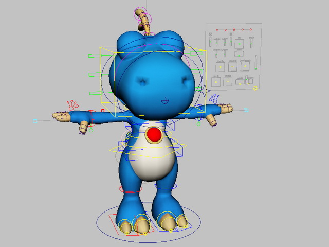 Rigged Blue Dinosaur Cartoon 3d rendering