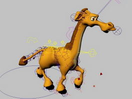 Cute Baby Giraffe Rig 3d model preview