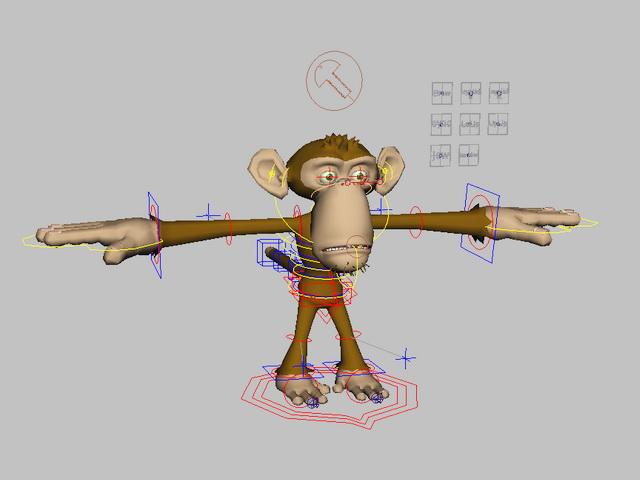 Cute Monkey Rig 3d rendering