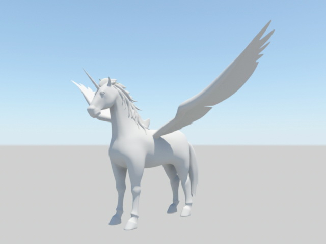 Winged Unicorn 3d rendering