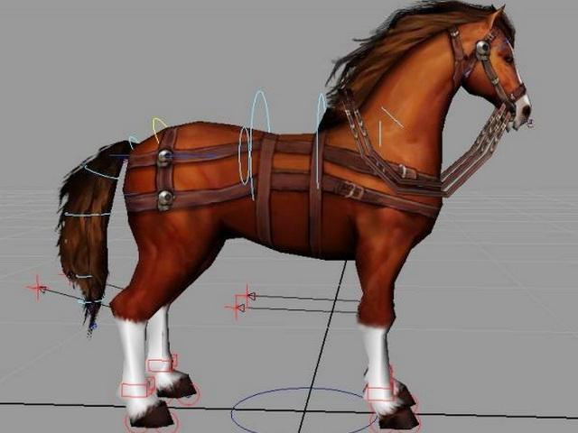Brown Horse Rig 3d rendering