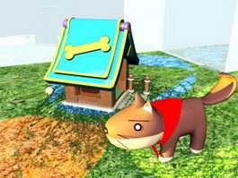 Cartoon Dog and Kennel 3d model preview