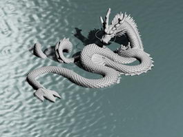 Chinese Double Dragon Sculpture 3d preview