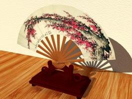 Painted Asian Fan 3d preview