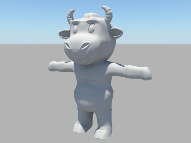 Anthropomorphic Cow Character 3d rendering