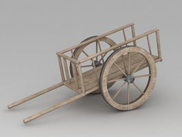 Wooden Handcart 3d preview