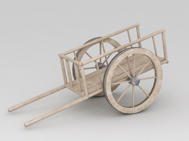 Wooden Handcart 3d rendering