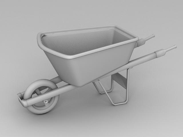 Traditional Wheelbarrow 3d rendering