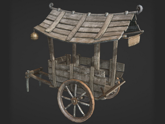 Chinese Wooden Cart 3d rendering