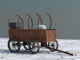 Old Wooden Cart Barrel 3d preview