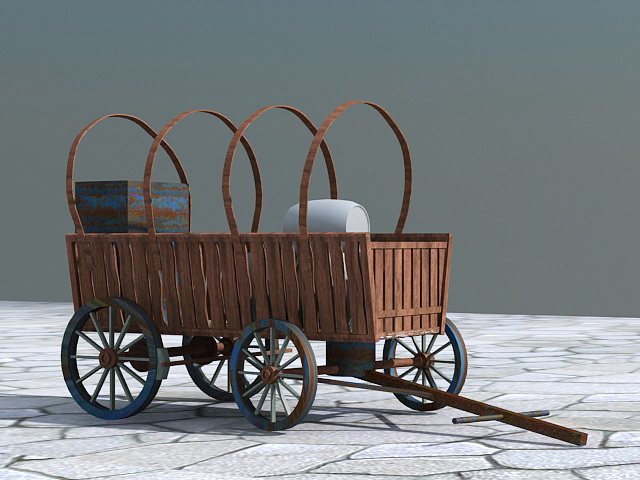 Old Wooden Cart Barrel 3d rendering