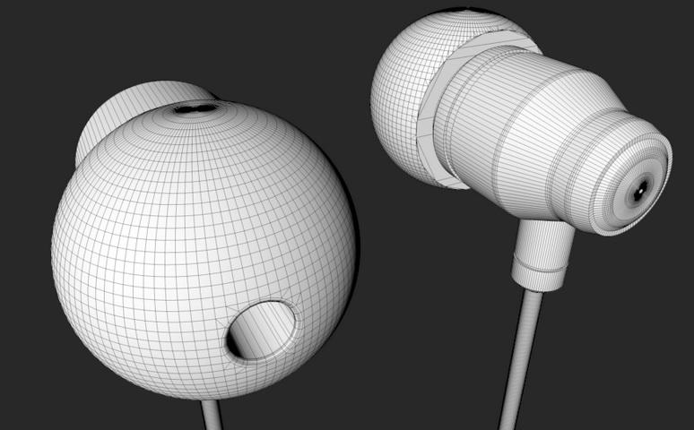 White Earphones 3d rendering