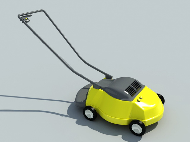 Yellow Lawn Mower 3d rendering