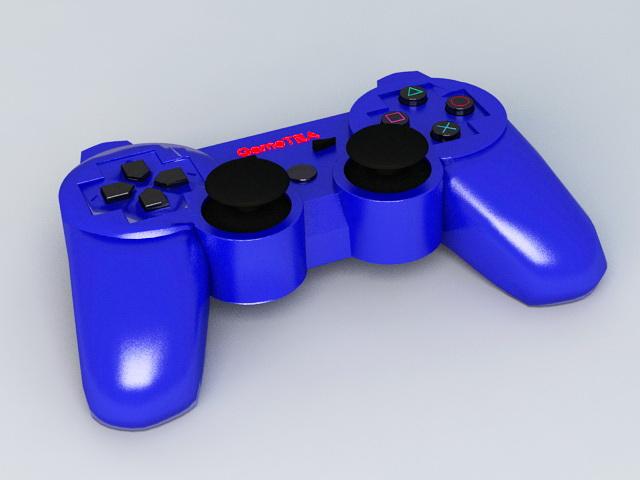 Blue Gamepad 3d rendering