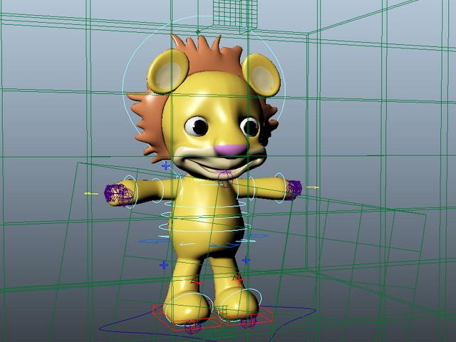 Cute Cartoon Lion Rig 3d rendering