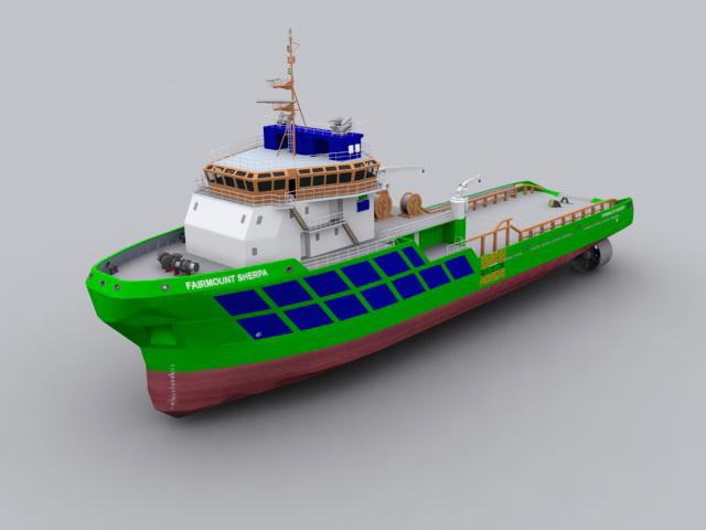 Tug Boat 3d rendering