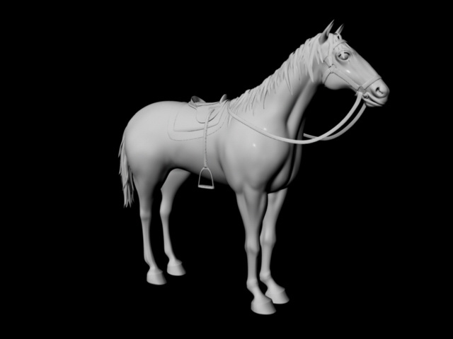 Horse Wearing Saddle 3d rendering