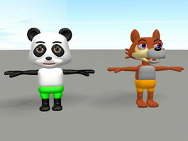 Cartoon Panda and Wolf 3d model preview
