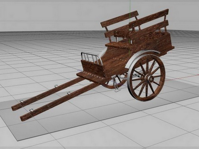 Wooden Cart 3d rendering