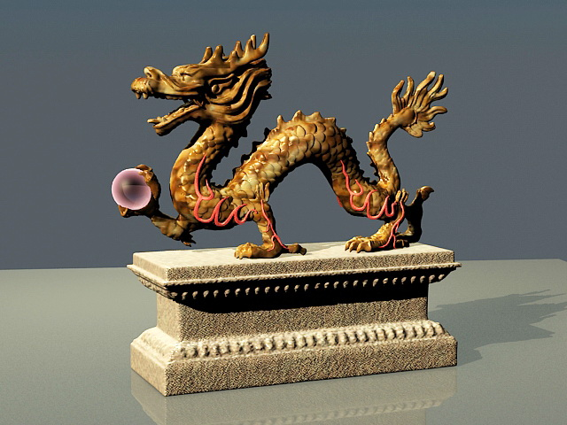 Chinese Dragon Sculpture 3d rendering