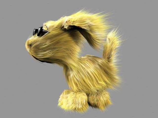 Blonde Dog 3d rendering