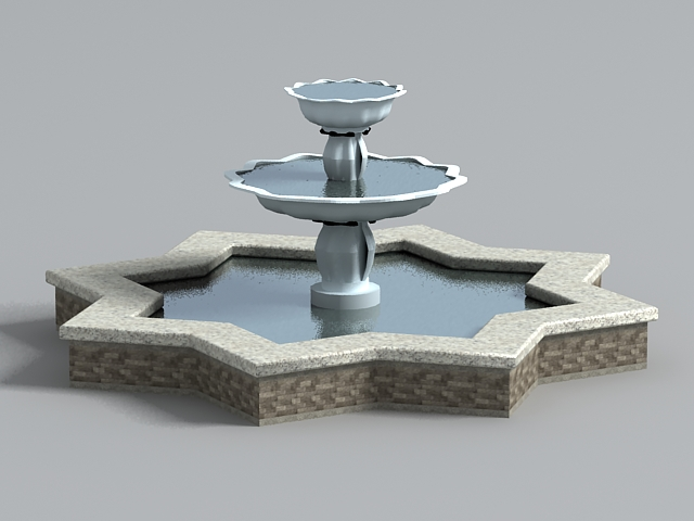 Gardens Star Fountain 3d rendering