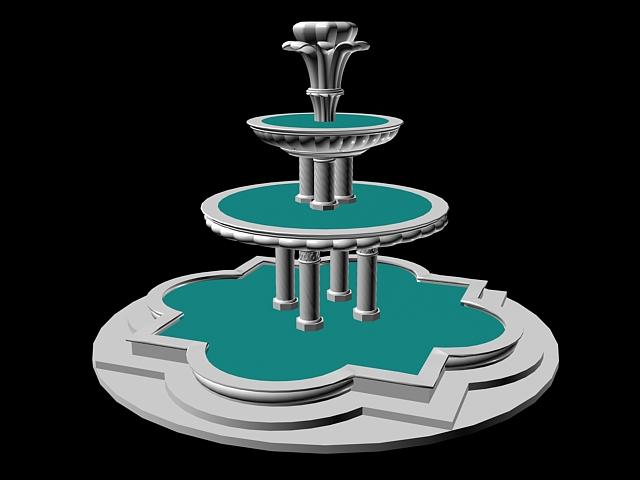 3 Tier Fountain 3d rendering
