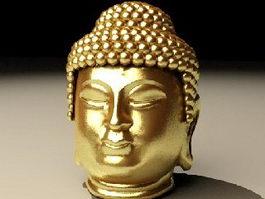 Golden Buddha Head 3d preview