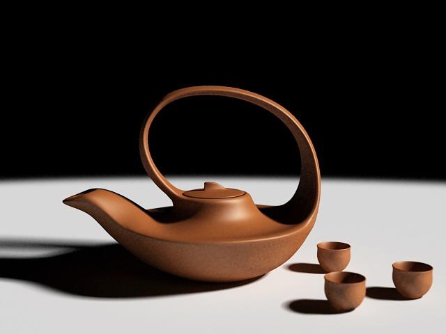 Clay Tea Set 3d rendering