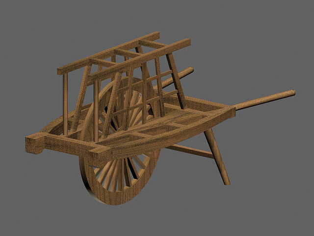 Ancient Chinese Wheelbarrow 3d rendering