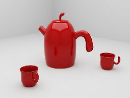 Red Tea Sets 3d preview