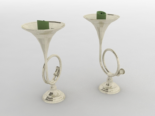 Brass Trumpet Candle Holders 3d rendering