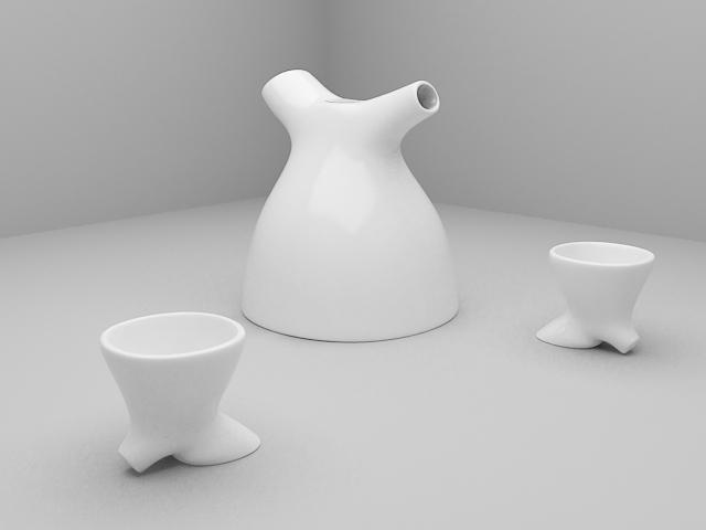 Modern Art Tea Set 3d rendering