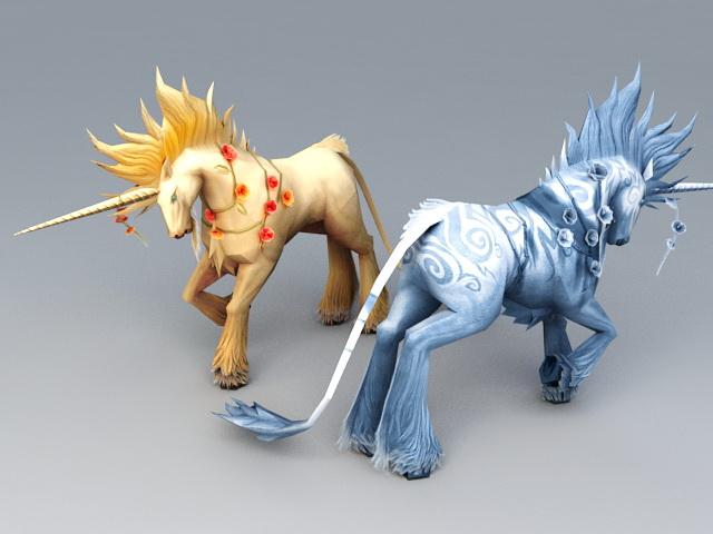 Mythical Unicorns 3d rendering