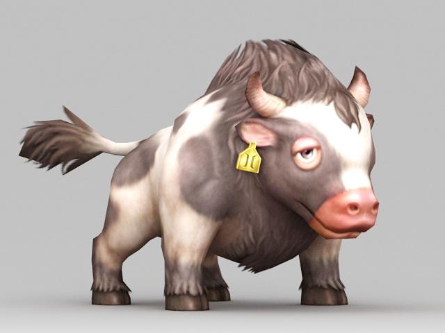 Dairy Cow Cartoon 3d rendering