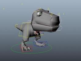 Cute Cartoon Dinosaur Rig 3d model preview
