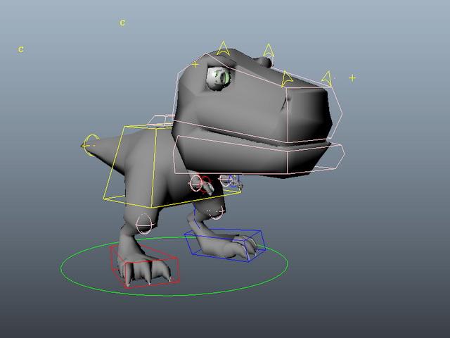 Cute Cartoon Dinosaur Rig 3d rendering