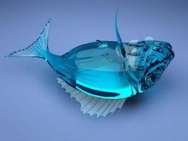 Blue Glass Fish Sculpture 3d preview