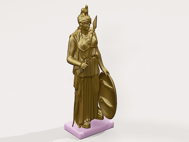 Goddess Athena Statue 3d rendering