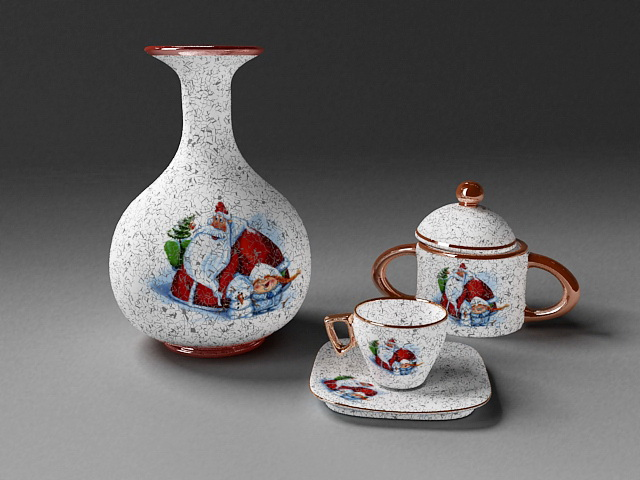 Antique Tea Set 3d rendering