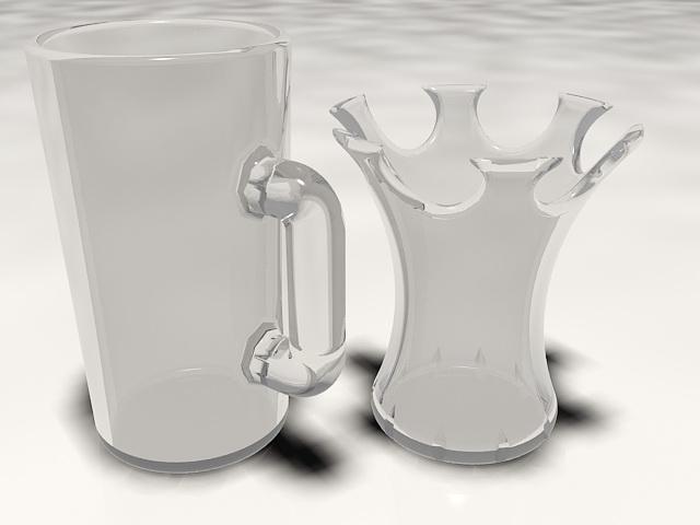 Glass Mugs 3d rendering