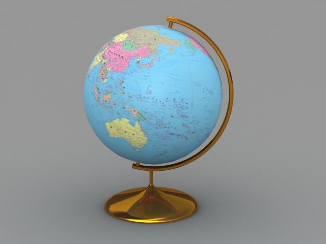 Desk Globe 3d rendering