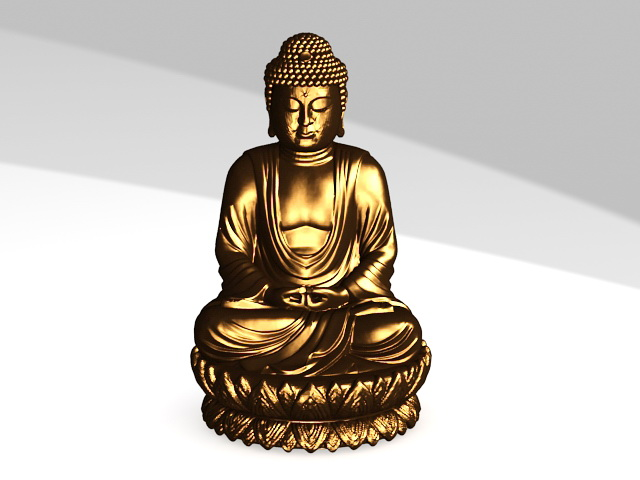 Sitting Buddha Statue 3d rendering
